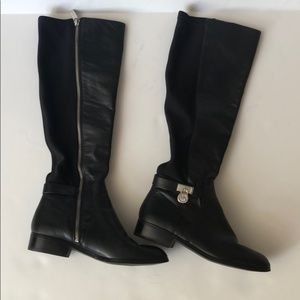 Michael Kors Black Leather Contrast Riding Boots